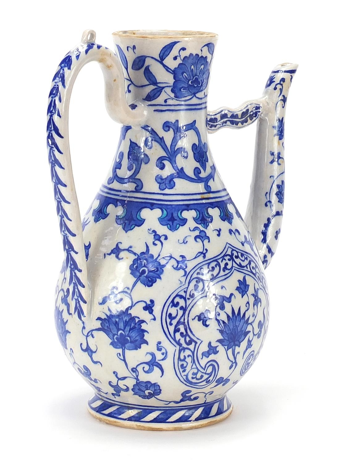Turkish Iznik pottery water carafe decorated with flowers, 29.5cm high : For Further Condition - Image 3 of 5