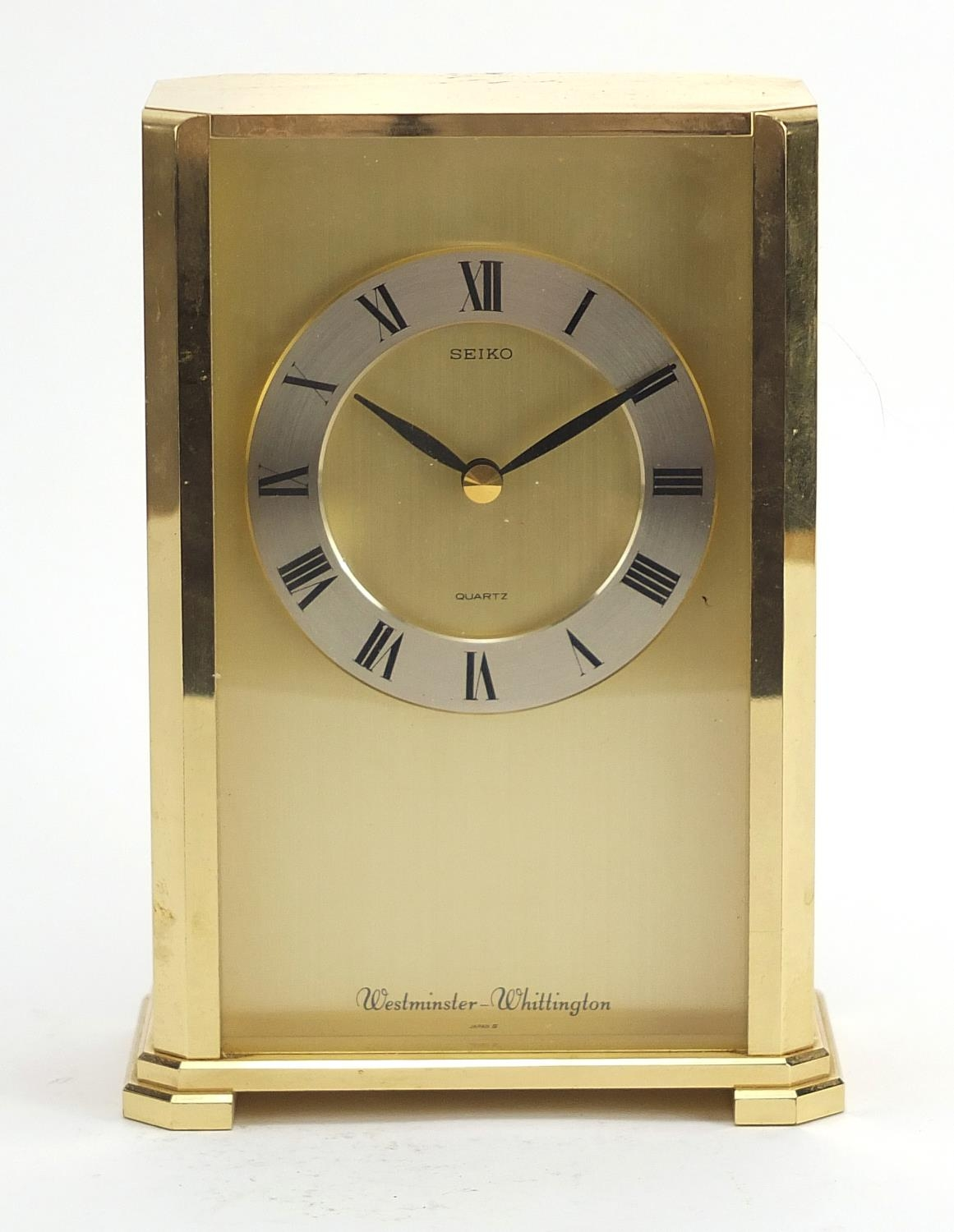 Seiko Westminster-Whittington mantle clock with Roman numerals, 20cm high : For Further Condition - Image 2 of 4