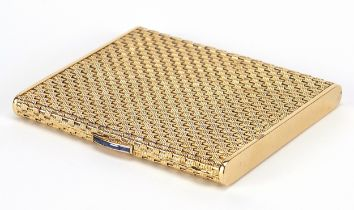 18ct gold basket weave design cigarette case with blue sapphire push button, marked 750 to the