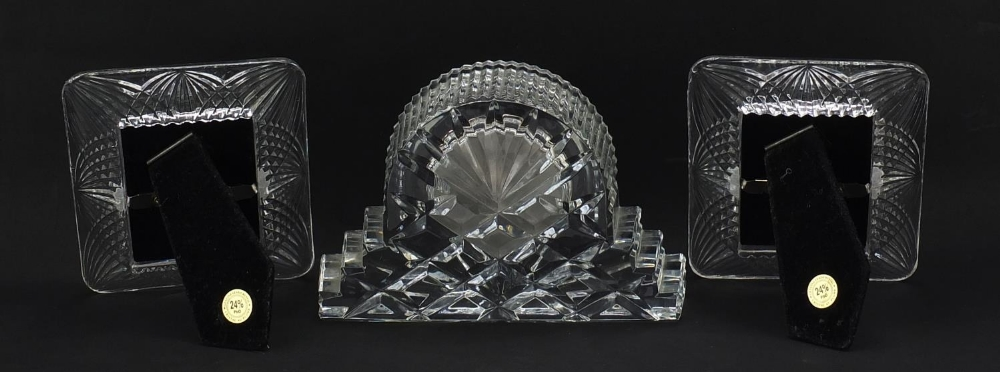 Waterford Crystal mantle clock and pair of French crystal photo frames, the largest 18.5cm wide : - Image 4 of 7