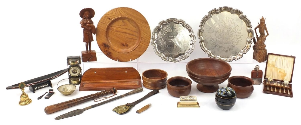 Wooden and metalware including a Police truncheon, silver plated salvers, Balinese figure, spear