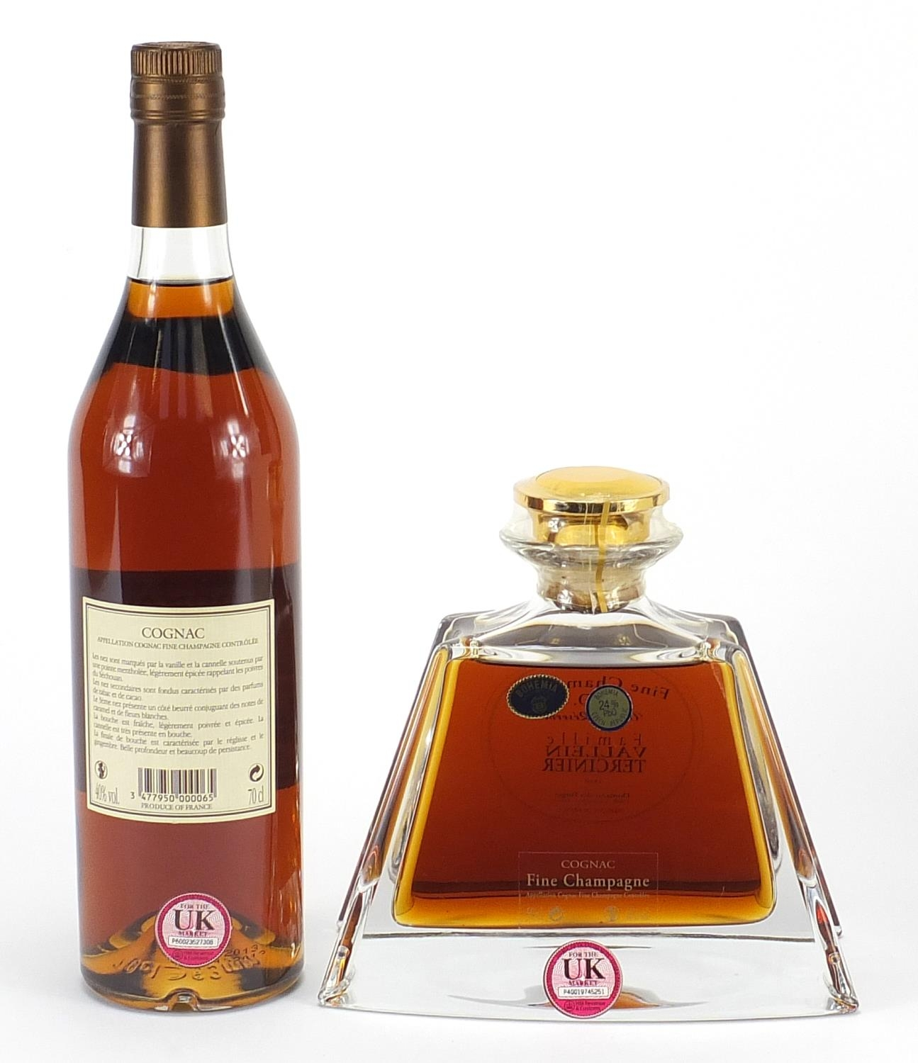 Two bottles of Famille Vallein Tercinier XO Fine Campagne cognac including one with decanter - Image 3 of 3