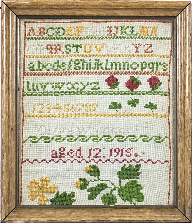 Vintage alphabet sampler by Olive Windsor, aged 12, 1915, details verso, mounted, framed and glazed, - Image 2 of 4