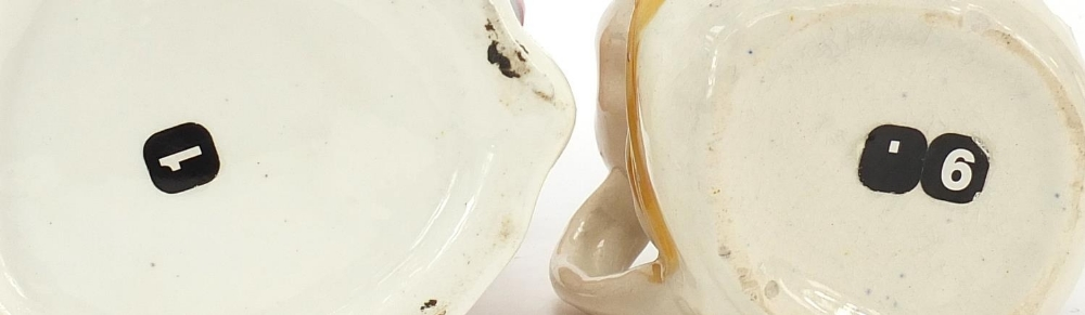 Ceramics and a plaster face mask comprising a Prattware pot lid, Chinese plate and two character - Image 5 of 5