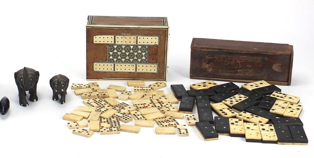 Sundry items including bone and ebony dominoes, fishing reels, Anglo Indian Vizagapatam folding - Image 3 of 4