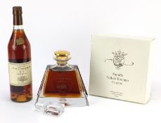 Two bottles of Famille Vallein Tercinier XO Fine Campagne cognac including one with decanter