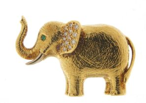 18ct gold and diamond elephant brooch, E W & Co maker's mark, 3.5cm wide, 20.0g : For Further