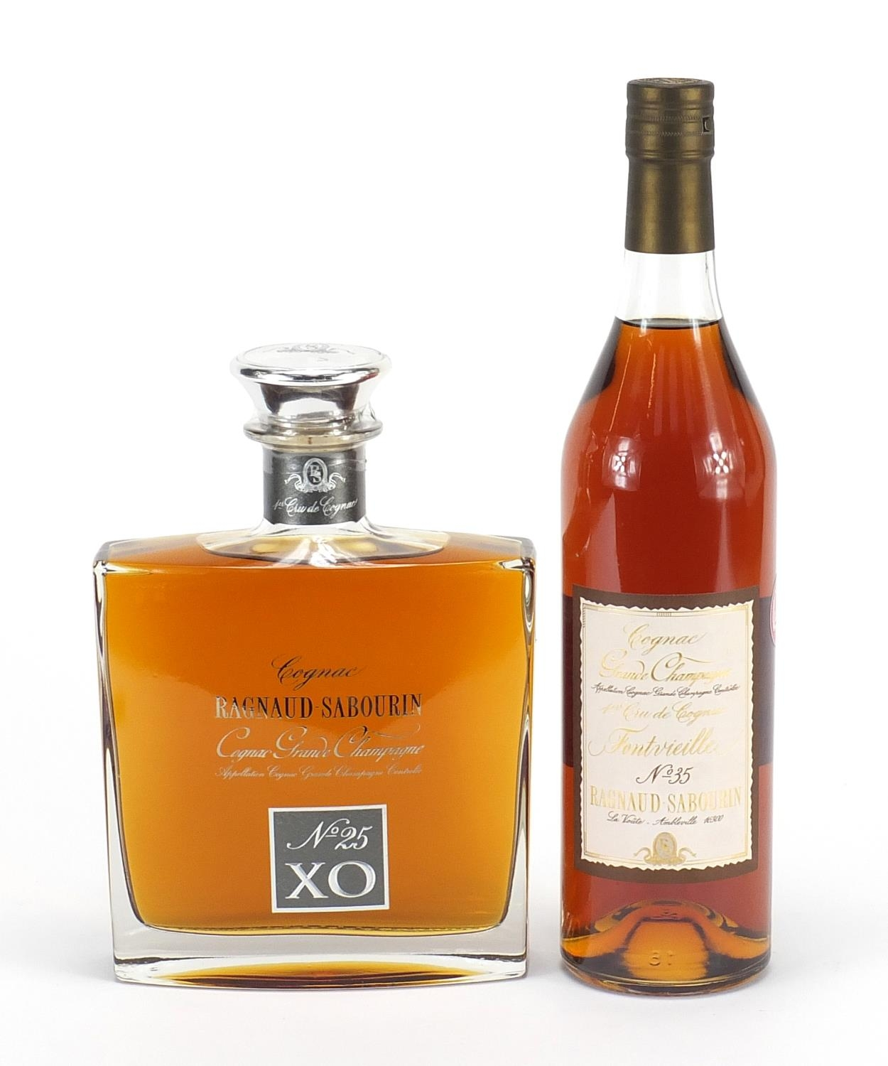 Two bottles of Ragnaud-Sabourin Cognac Grande Champagne comprising XO no 25 and no 35 : For