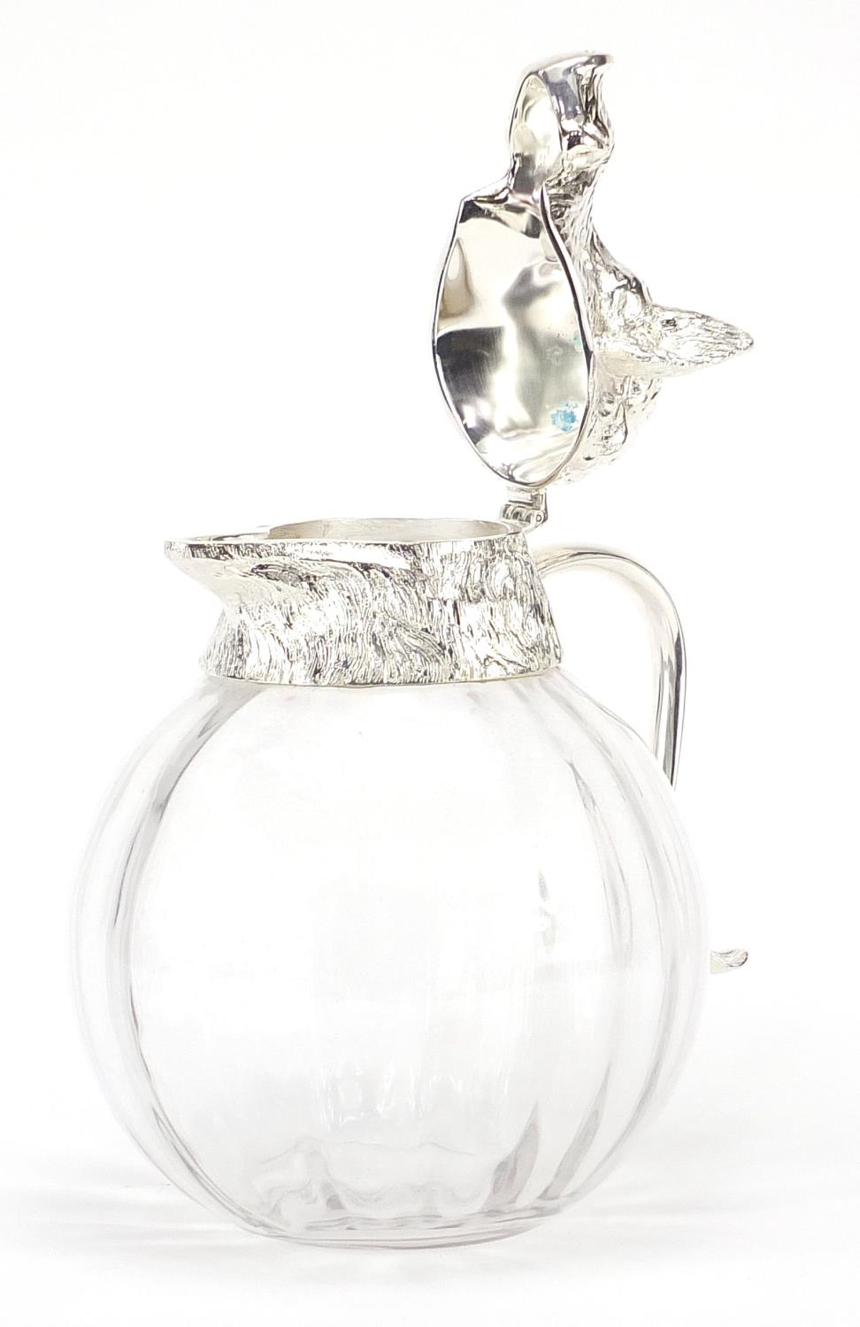 Manner of Valenti, globular glass carafe with silver plated mounts in the form of a boars head, 28cm - Image 4 of 10