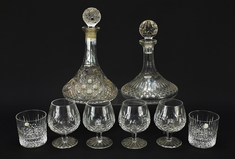Glassware and a silver brandy decanter label, comprising two ship's decanters, set of four Waterford - Image 5 of 8
