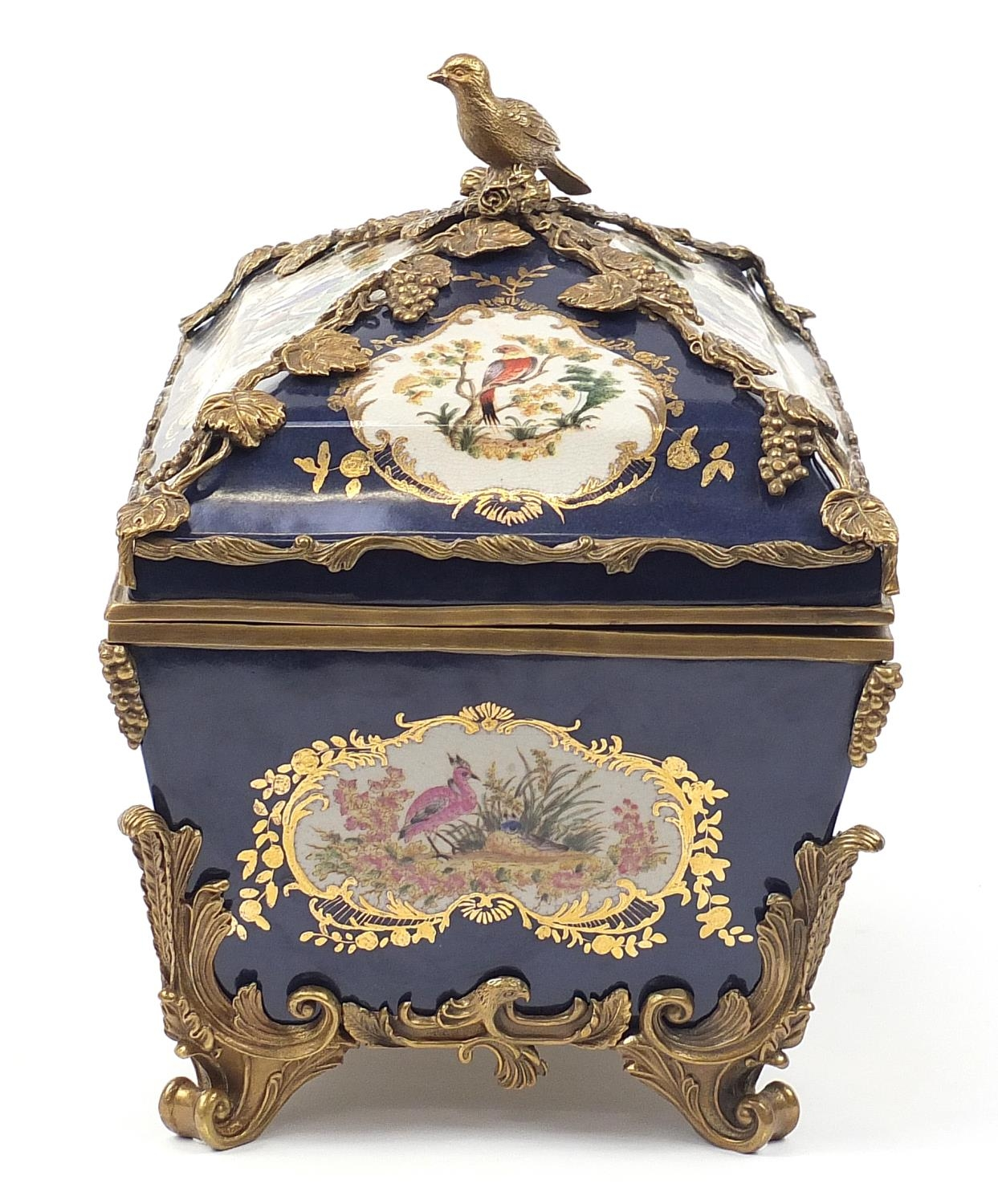 Continental bronze mounted porcelain table casket decorated with birds, leaves and berries, 35cm H x - Image 6 of 10