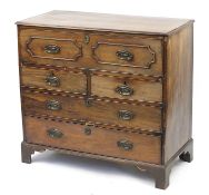 19th Century mahogany secretaire chest with fitted interior and brass handles embossed with a farmer