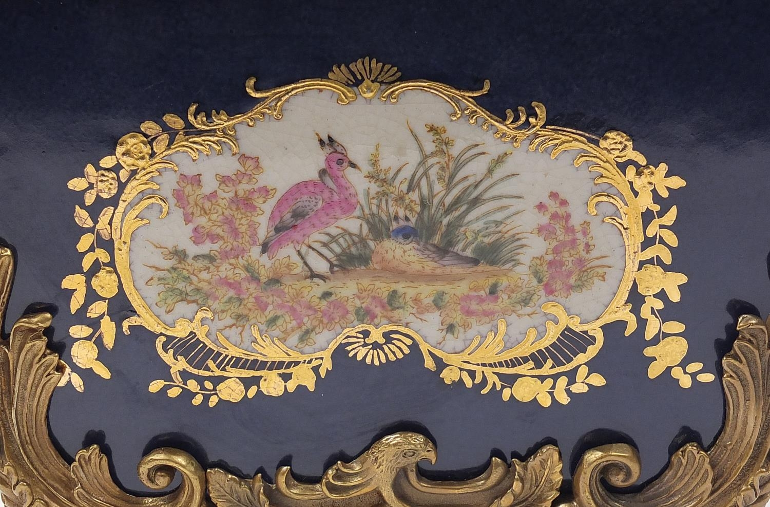 Continental bronze mounted porcelain table casket decorated with birds, leaves and berries, 35cm H x - Image 8 of 10