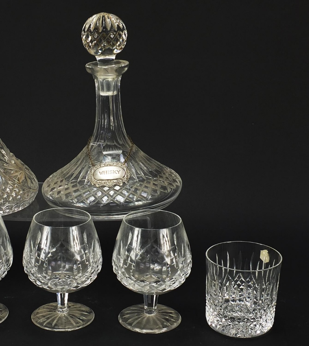 Glassware and a silver brandy decanter label, comprising two ship's decanters, set of four Waterford - Image 4 of 8
