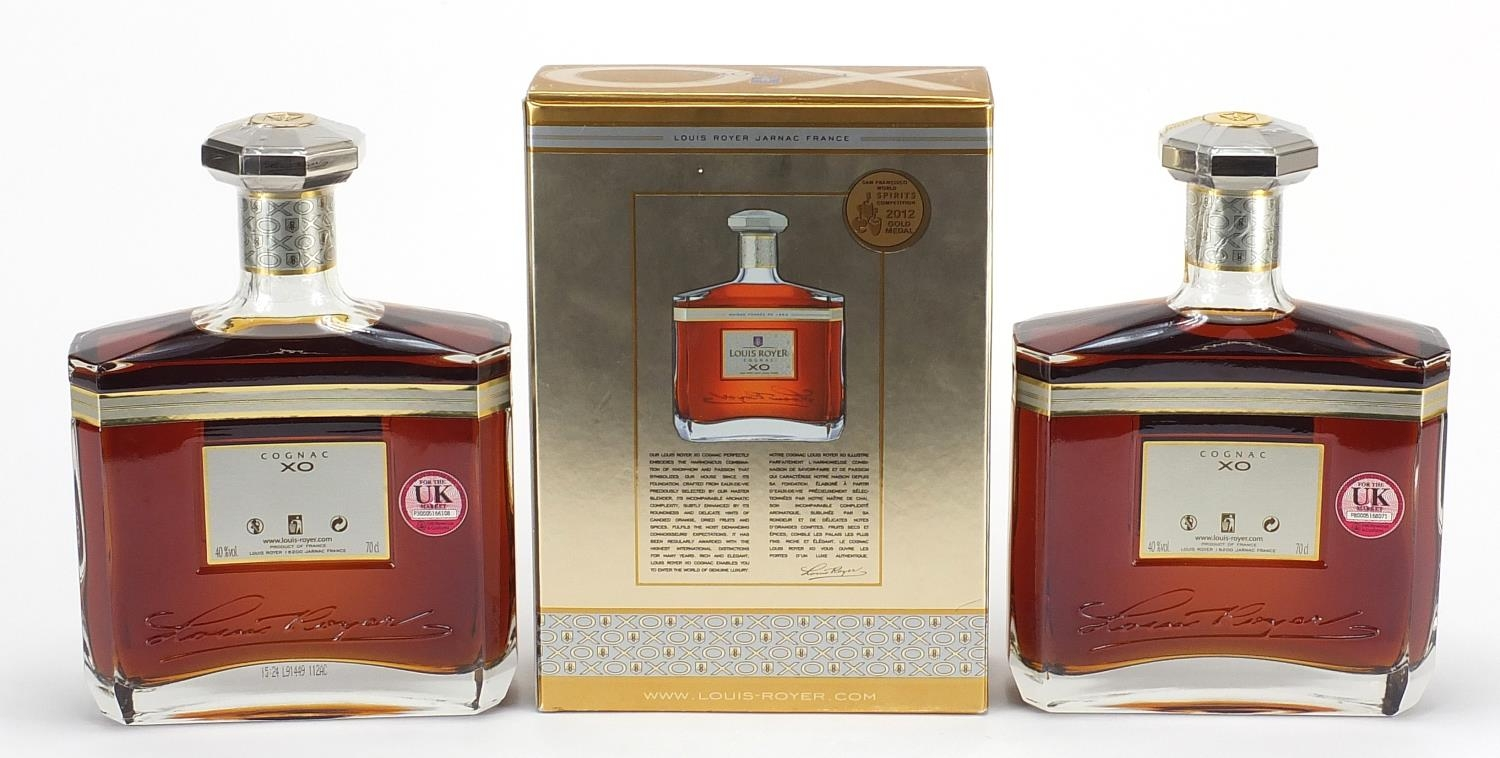 Two bottles of Louis Royer XO cognac, one with box : For Further Condition Reports Please Visit - Image 2 of 2