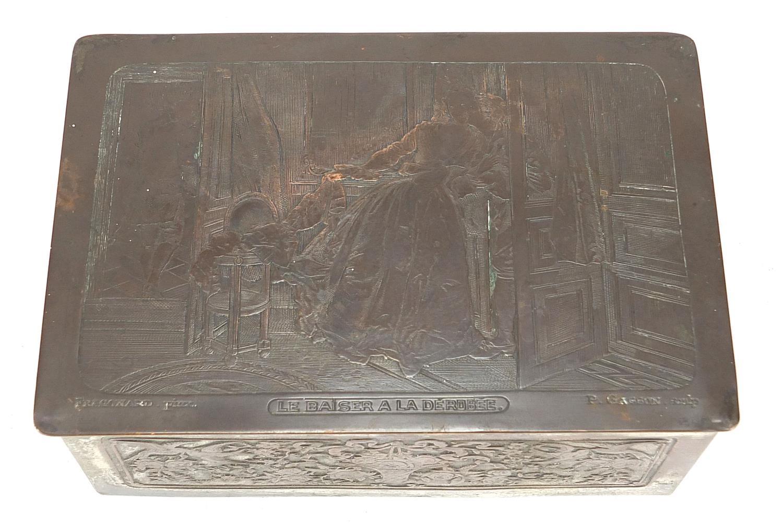 WMF silver plated casket titled Le Baiser a la Derdbee, 5.5cm H x 13.5cm W x 9cm D : For Further - Image 5 of 13