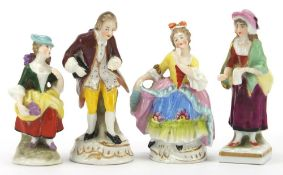 Three Chelsea style porcelain figures and Switzendorf style example, the largest 8.5cm high : For