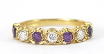 18ct gold diamond and amethyst half eternity ring, the diamonds approximately 2mm in diameter,