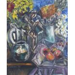 Still life flowers and fruit, oil on board, indistinctly signed, possibly O Wilson, framed, 54cm x