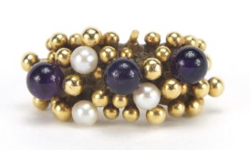 Stuart Devlin, 18ct gold amethyst and pearl ring, size L, 15.7g : For Further Condition Reports