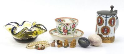 Antique and later china and glassware including Western Germany tankard, Murano glass bowl and