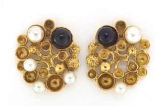 Stuart Devlin, pair of 18ct gold amethyst and pearl stud earrings, 2.1cm high, 7.5g : For Further