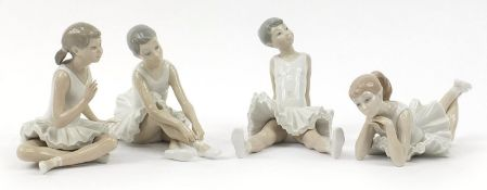 Four Nao ballerinas, the largest 18cm in length : For Further Condition Reports Please Visit Our