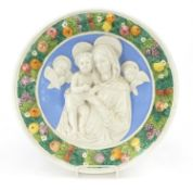 Italian Maiolica wall plaque of Madonna & child in the style of Della Robbia, 40.5cm in diameter :