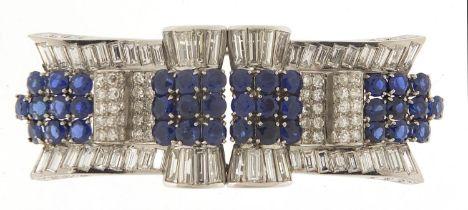 Good Art Deco diamond and sapphire three piece scarf clip brooch, A & M maker's mark, 6cm wide, 32.