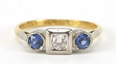 Art Deco 18ct gold and platinum diamond and sapphire three stone ring, size O, 3.3g : For Further