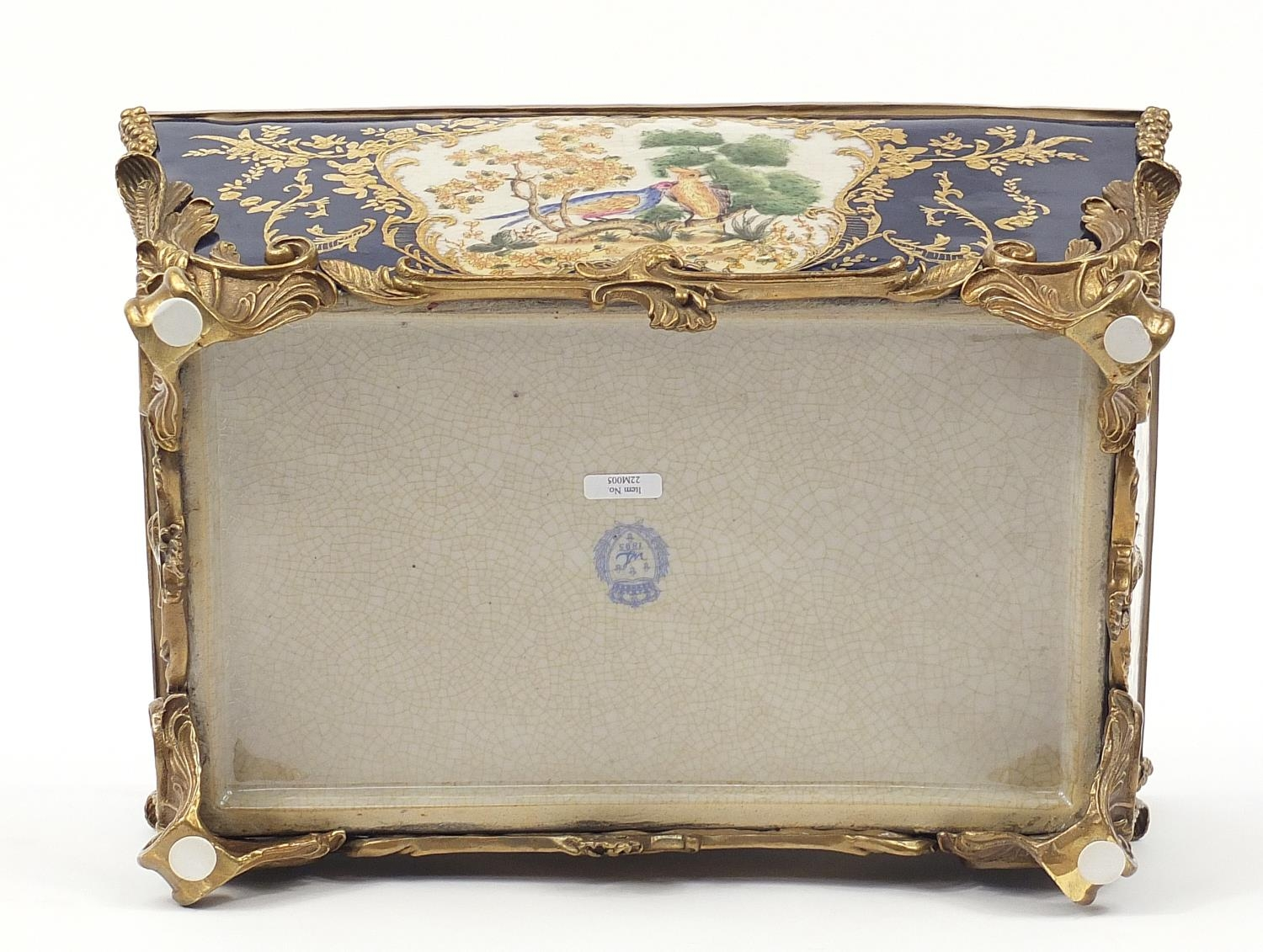 Continental bronze mounted porcelain table casket decorated with birds, leaves and berries, 35cm H x - Image 9 of 10