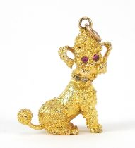 9ct gold seated poodle charm with ruby eyes, 3cm high, 8.7g : For Further Condition Reports Please
