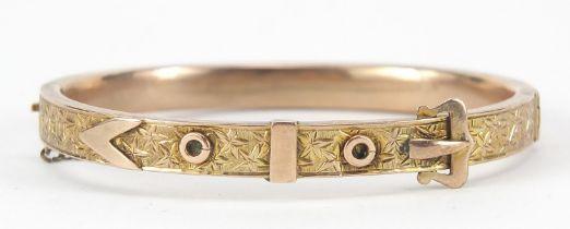Victorian unmarked gold belt buckle design hinged bangle, 6.5cm wide, 10.2g : For Further