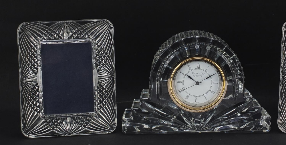 Waterford Crystal mantle clock and pair of French crystal photo frames, the largest 18.5cm wide : - Image 2 of 7