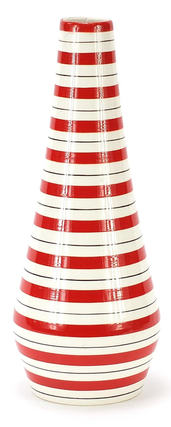 Jessie Tait for Midwinter, modern vase with painted red stripes, 28.5cm high : For Further Condition