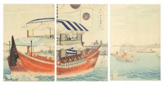 Chikanobu - Shogun and his boat from the series Ehiyoda No On Omote, 19th century Japanese