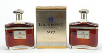 Two bottles of Louis Royer XO cognac, one with box : For Further Condition Reports Please Visit