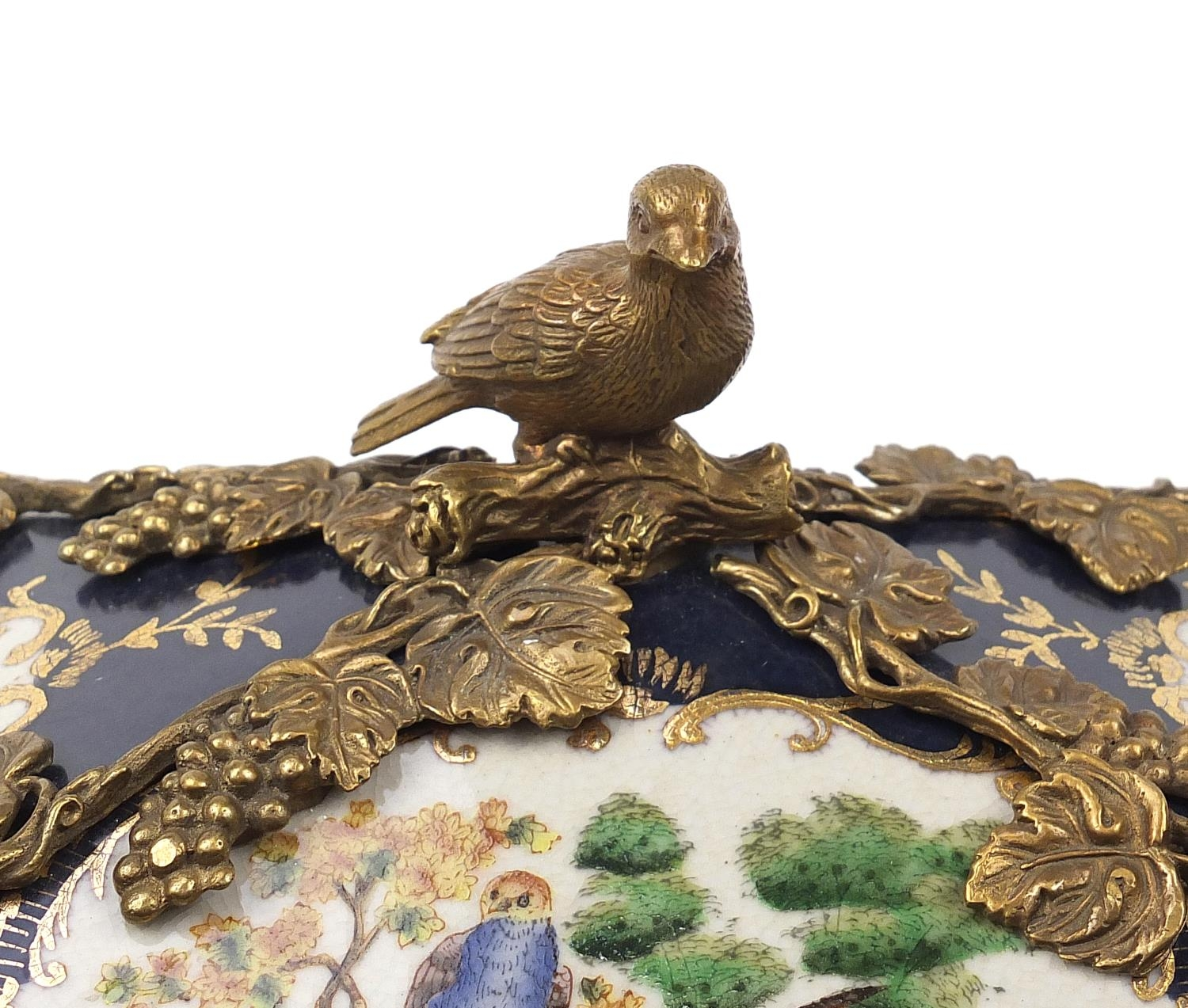 Continental bronze mounted porcelain table casket decorated with birds, leaves and berries, 35cm H x - Image 3 of 10