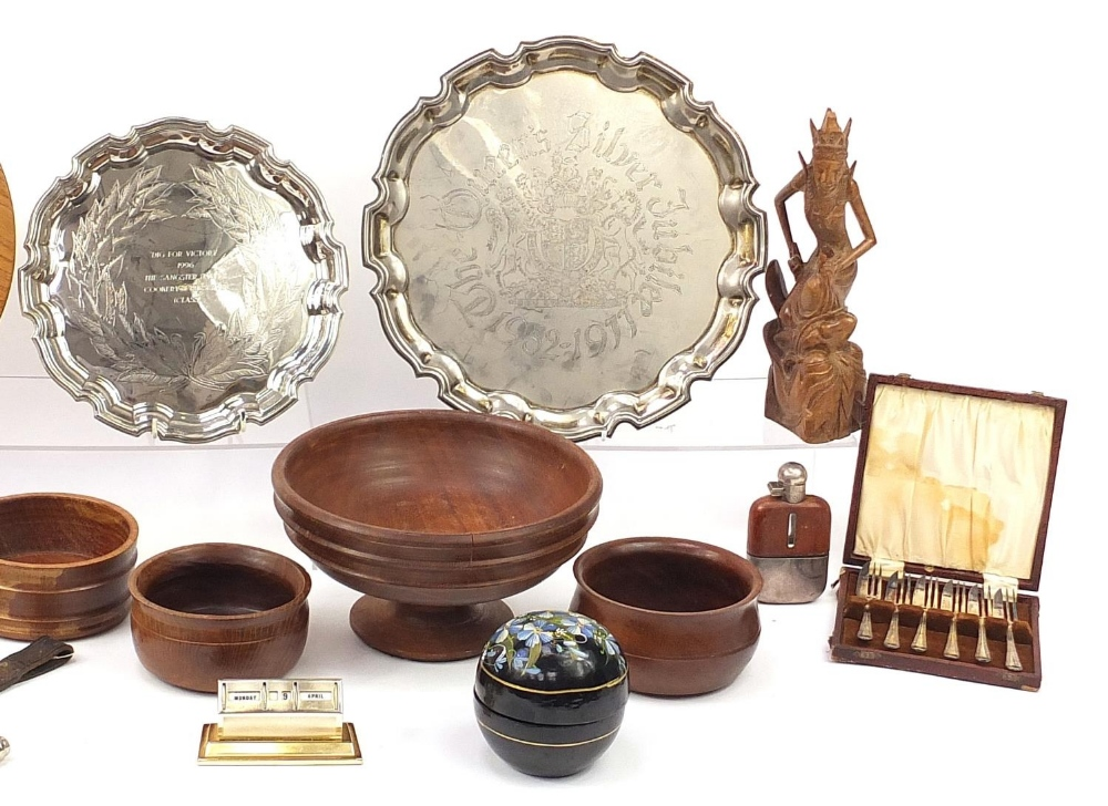 Wooden and metalware including a Police truncheon, silver plated salvers, Balinese figure, spear - Image 3 of 7