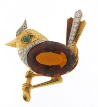 Unmarked gold and citrine bird on a branch brooch set with diamonds and turquoise, 5cm high, 25.2g :