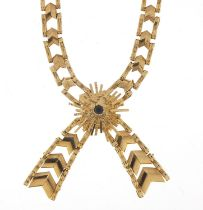 9ct gold bow design necklace set with a sapphire, 38cm in length, 22.4g : For Further Condition
