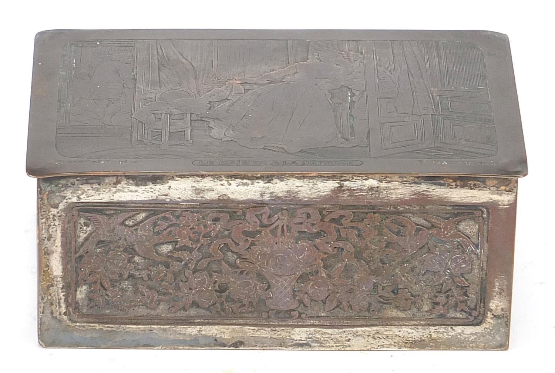 WMF silver plated casket titled Le Baiser a la Derdbee, 5.5cm H x 13.5cm W x 9cm D : For Further - Image 4 of 13