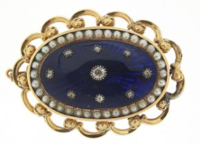 Antique unmarked gold, diamond, seed pearl and blue enamel brooch, the central diamond approximately