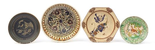 Four Continental pottery chargers/plates including a Longwy style example enamelled with a