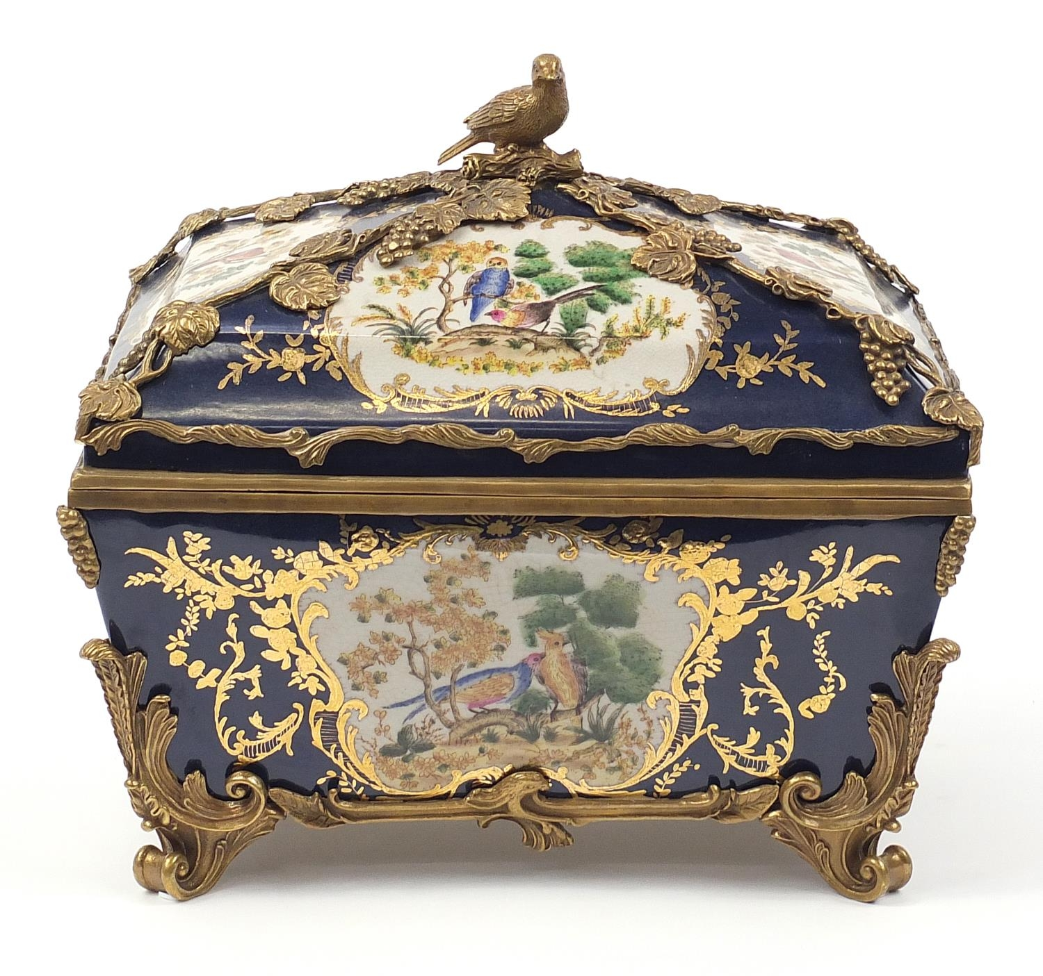 Continental bronze mounted porcelain table casket decorated with birds, leaves and berries, 35cm H x - Image 2 of 10