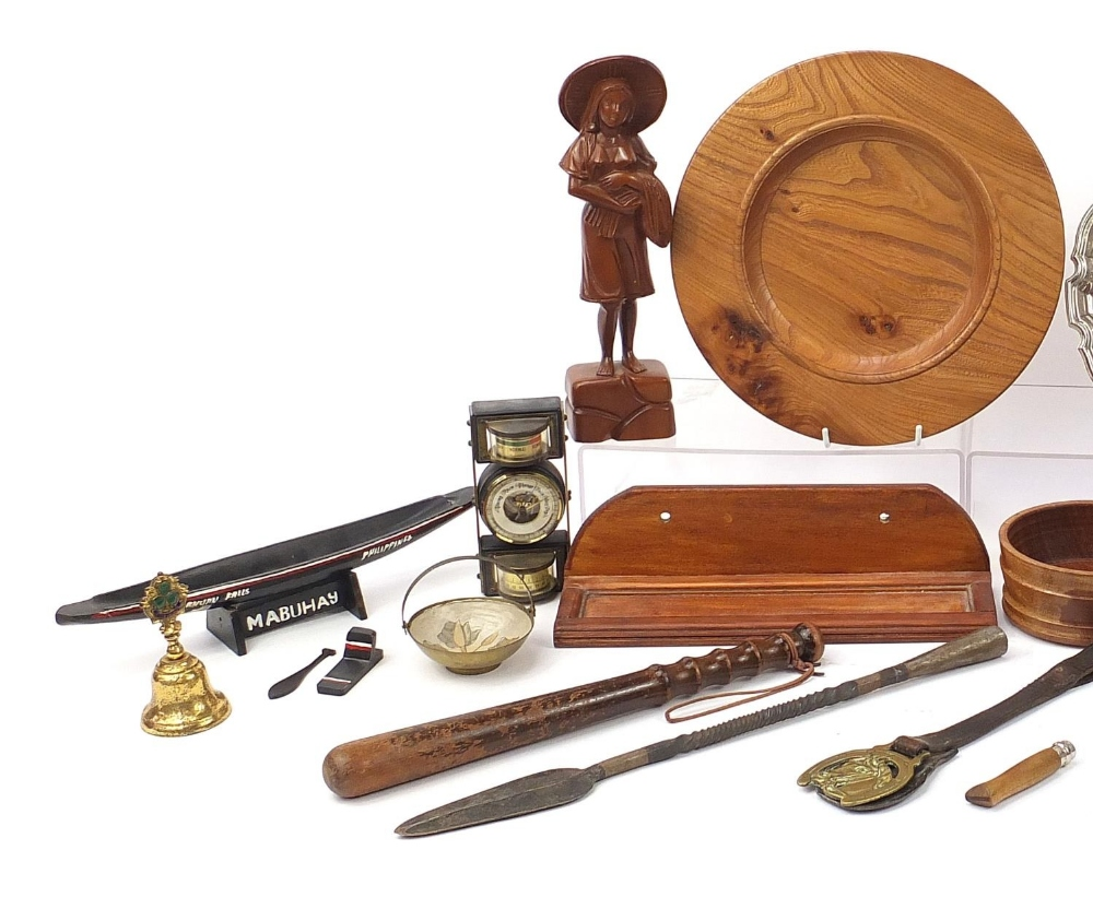 Wooden and metalware including a Police truncheon, silver plated salvers, Balinese figure, spear - Image 2 of 7
