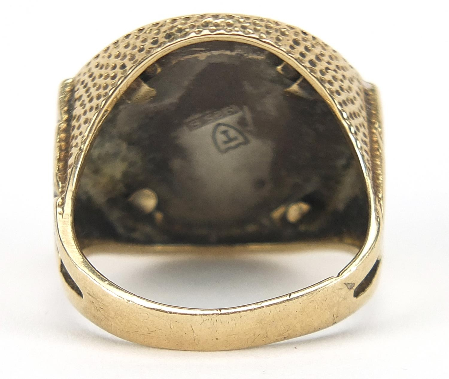 9ct gold ring with 925 silver and enamel Chelsea Football Club emblem, size P, 10.9g : For Further - Image 3 of 5