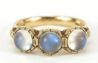 Georgian style 9ct gold cabochon moonstone ring, size O, 3.9g : For Further Condition Reports Please