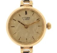 Citizen, ladies 9ct gold quartz wristwatch with 9ct gold strap with box and paperwork, 17mm in