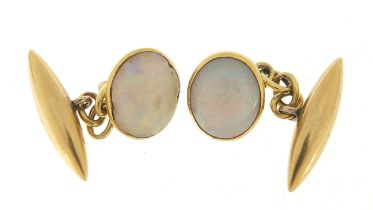 Pair of 18ct gold opal cufflinks, 1cm wide, 4.6g : For Further Condition Reports Please Visit Our